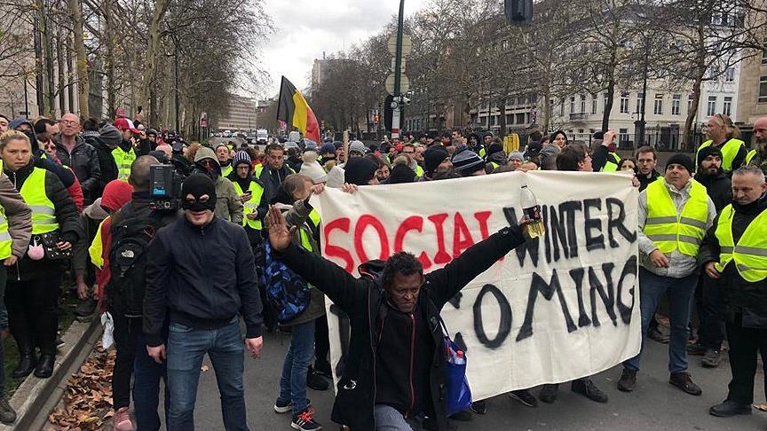 Belçika'daki 'sarı yelekliler' AB Konseyi'ne yürüyor