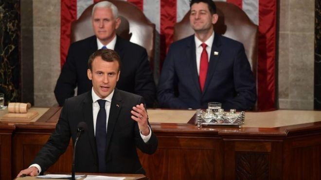 Macron'dan ters köşe: Amerikan kongresinde Trump'ı eleştirdi!