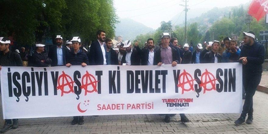 Saadet Partisi'nden anarşist sembollü pankart açıklaması