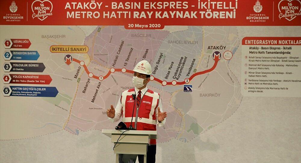 İkitelli-Ataköy metro hattında raylar döşeniyor